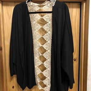 Black silky shrug with embroidered back